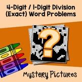 1-Digit Divisor Long Division Word Problems Task Cards No Remainder Color Sheets