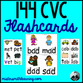 144 CVC Flashcards (color and B & W)