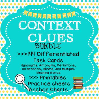 144 Differentiated Context Clues Task Cards; Context Clues Printables Worksheets