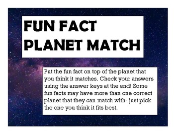 144 Fun Facts- Planet Match!