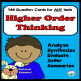 144 Higher Order Thinking Questions Cards for ANY Book H.O