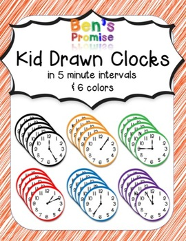 144 Kid Drawn Clock Faces in 5 Minute Intervals