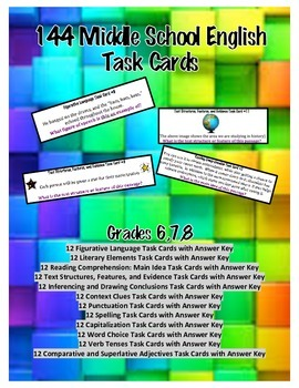 144 Middle School English Task Cards