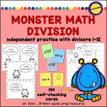 144 Monster Math Division Cards