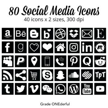 80 SOCIAL MEDIA icon set,  Black and White Squares, 2 Sizes