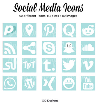 80 SOCIAL MEDIA Icon Set, Squares, Aqua and White, 2 Sizes