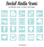 80 SOCIAL MEDIA Icon Set, Squares, Aqua and White, 2 Sizes