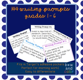 144 Writing Prompts for Grades 1-6 (for Adhesive Pocket Labels from Target)