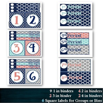 147 Labels: Coral Navy Teal Gray Quatrefoil Drawer Toolbox Calendar Number Group