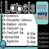 147 Labels: Coral Navy Teal Gray Quatrefoil Drawer Toolbox