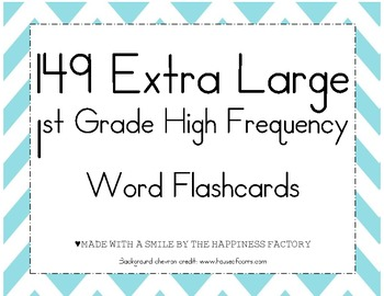 149 Extra Large First Grade High Frequency Word Cards