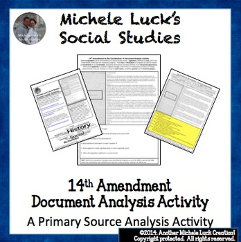 14th Amendment to Constitution Document Analysis Activity