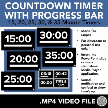 15, 20, 25, 30, & 35 Minute Countdown Timers (Video Files for PowerPoint)