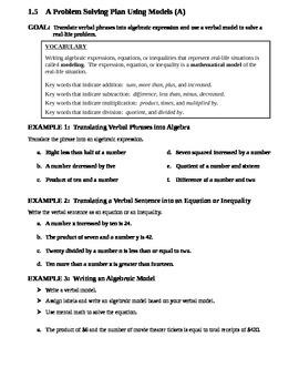 1.5 A Problem Solving Plan Using Models (A)