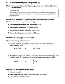 1.5 A Problem Solving Plan Using Models (B)