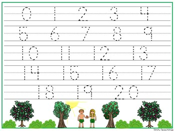15 Adam and Eve themed Alphabet, Numbers, and Shapes Tracing Worksheets.