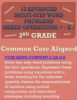 15 Advanced Multi-Step Word Problems: Mixed Operations 3rd Grade