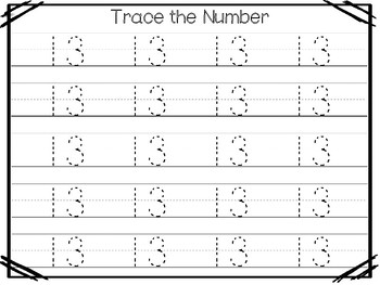 15 All About the Number 13 Tracing Worksheets and Activities. Preschool-1st  Grad