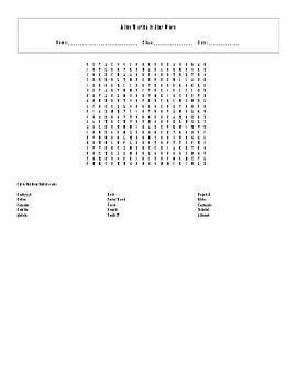 15 Answer Alien Worlds in Star Wars Word Search with Key