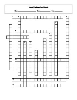 15 Answer More TV's Biggest News Moments Crossword with Key