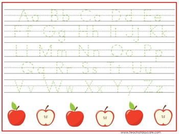 15 Apple Themed Alphabet, Numbers, and Shapes Tracing Worksheets.