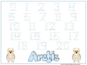 15 Arctic Animals Themed Alphabet, Numbers, and Shapes Tracing Worksheets.