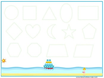 15 At the Beach Themed Alphabet, Numbers, and Shapes Tracing Worksheets.