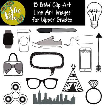15 B&W Doodle Clip Art for Older Students