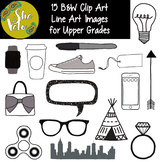 15 B&W Doodle Clip Art for Older Students