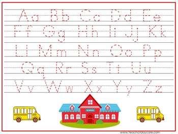 15 Back to School Themed Alphabet, Numbers, and Shapes Tracing Worksheets.