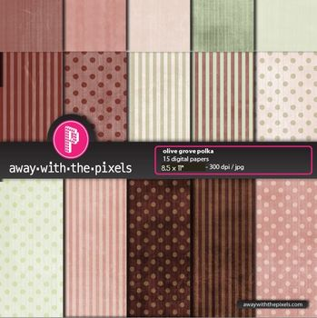 "15 Background Papers 8.5 x 11"" Browns & Greens Polka Dots and Stripes #2"
