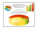 15 Bar Graphs/Pie Charts: Single & Multi-Step Word Problems 3rd Grade