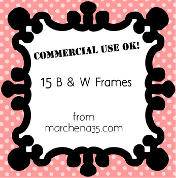 15 Black and White Clip Art Frames - Set 1