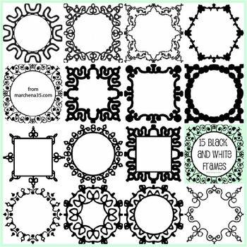 15 Black and White Clip Art Frames - Set 1