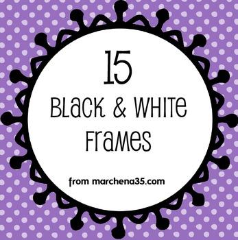 15 Black and White Clip Art Frames - Set 2