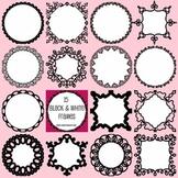 15 Black and White Clip Art Frames - Set 3