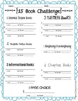 15 Book Challenge Worksheet