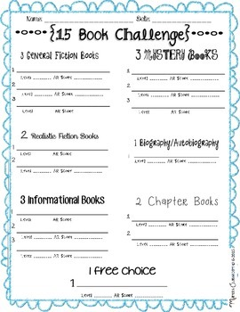 15 Book Challenge Worksheet