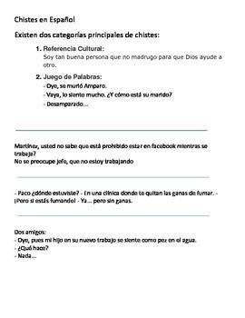 15 Chistes en español / 15 Jokes in Spanish Translation Activity