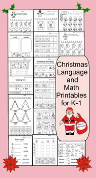 15 Christmas Printable Math and Language Pages K-1