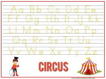 15 Circus Themed Alphabet, Numbers, and Shapes Tracing Worksheets.