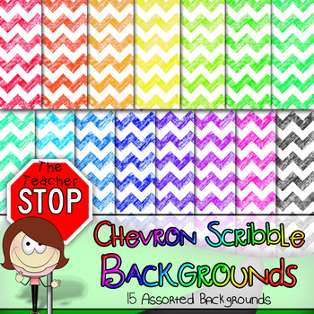 Chevron Scribble Backgrounds 12x12 - 15 Colorful Images {The Teacher Stop}