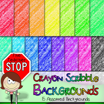 Crayon Scribble Backgrounds 12x12 - 15 Colorful Images {The Teacher Stop}