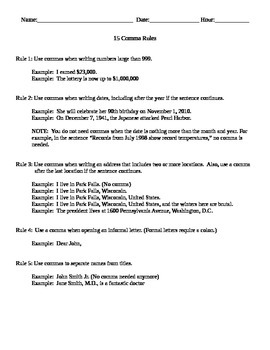 15 Comma Rules (Grammar and Sentence Structure)