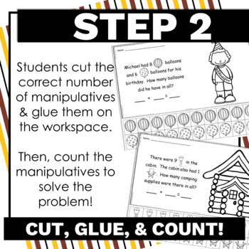 K.OA.A.2 Cut and Glue Word Problems within 10