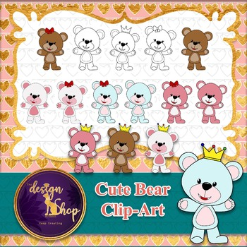 2$ Deal - 15 Cute Bear Clip Art - Commercial Use