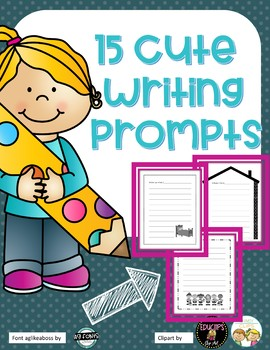 15 Cute Writing Prompts in Black/White for easy printing