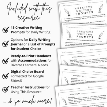 15-Day Writing Prompt Unit | Scaffolding Practice Worksheets | Activities