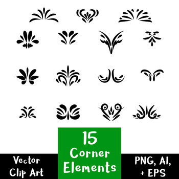 15 Decorative Corner Elements | Hand Drawn Vintage Flourish Divider Clipart