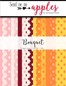15 Digital Polka Dot & Solid Papers - Bouquet (CUOK)